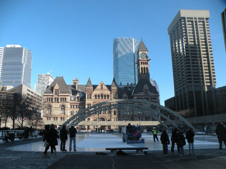 Toronto City Hall, where I taught Patrick how to ice skate