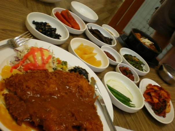 Donkatsu in Baengyeongdo (breaded pork cutlet).