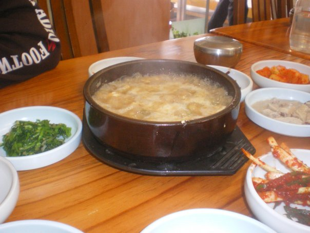 We had this delicious clam Jiggae (stew) after a long hike in Jeollnam-do