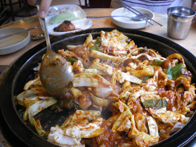 Dakgalbi (chicken with chili, cabbage, onions, rice cake) in Jongno-gu, Seoul