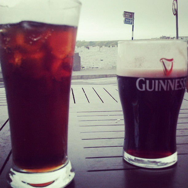 "Coke for moi, and a ""glass"" of Guinness for Bridget."